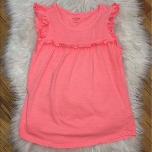 Girls Coral Ruffle Tank Top ((P12))
